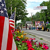 Tractor pulls the float of the Democratic Town Committee, for the Pepperell 4th of July Parade. Nashoba Valley Voice Photo by David H. Brow