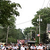 BagPippers march under the Pepperell Banner on Main Street for the 4th of July Parade. Nashoba Valley Voice Photo by David H. Brow