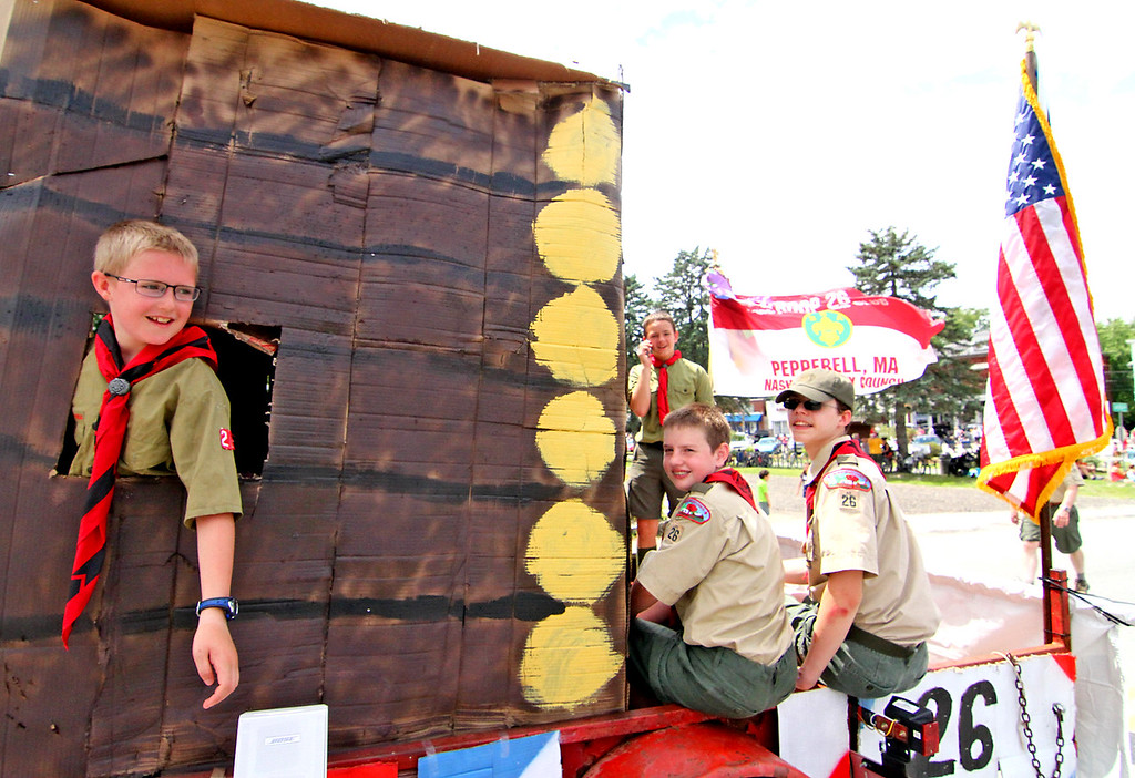. Parade float of Boy Scout Troop #26 of Pepperell in the 4th of July parade. Nashoba Valley Voice Photo by David H. Brow