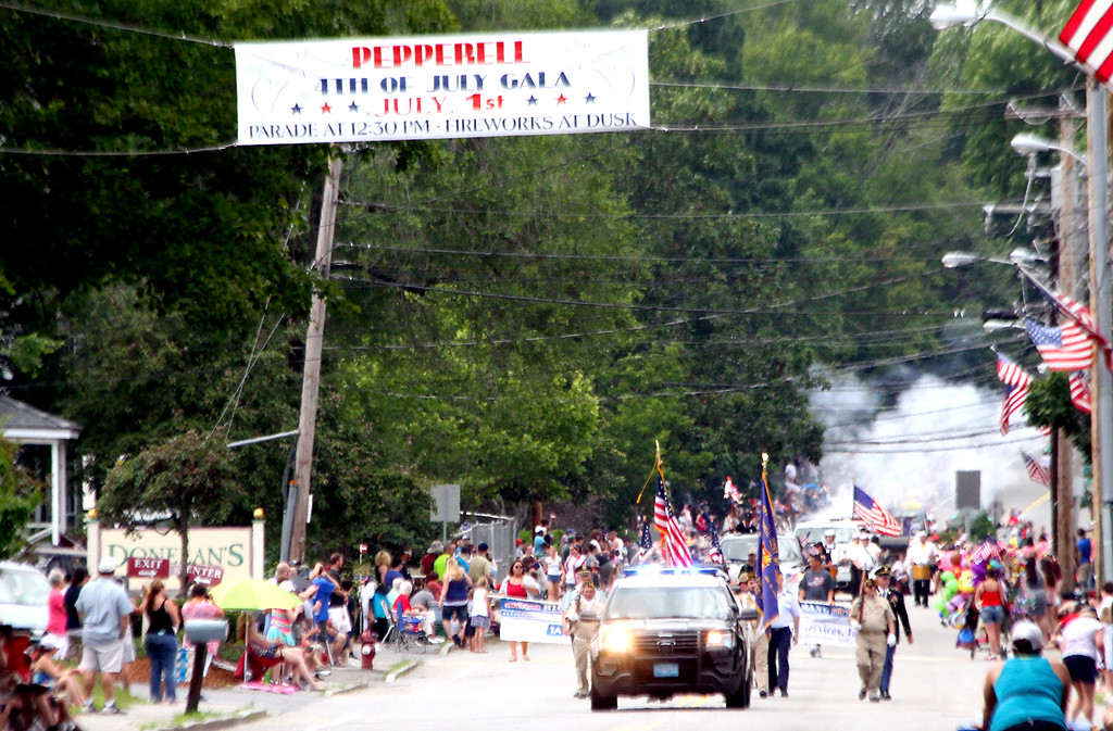 . Start of the 4th of July Parade in Pepperell heading down Main Street. Nashoba Valley Voice Photo by David H. Brow