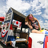 Missy Fernale on the BloodTeam RE Float in the Pepperell 4thof July Parade. Nashoba Valley Voice Photo by David H. Brow