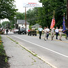 Group leading the Pepperell 4th of July Parade down Main Street representing all branches of services. Nashoba Valley Voice Photo by David H. Brow
