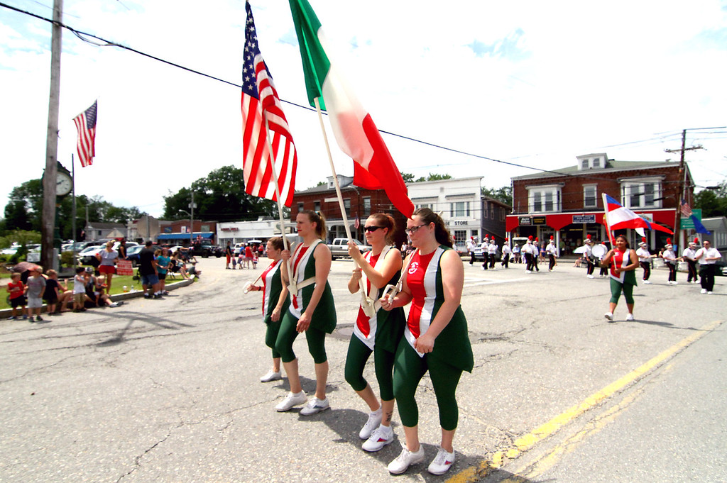 . Group from the Sons of Italy marching in downtown Pepperell in the 4th of July Parade. Nashoba Valley Voice Photo by David H. Brow