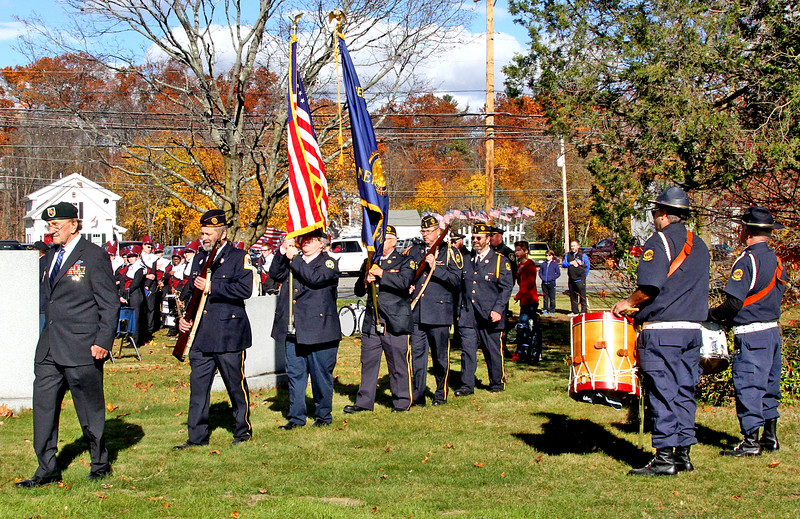 Color Guard from George J. Morin Post 183 American Legion, in Shirley, retiring the colors, L-R, Carl McKoon, David Johanson, Karen Blood, John Cardillo Sr., Mike Flood and Paul Wilson, Drummers on right are Scott Bulger and his father Mike Bulger. Nashoba Valley Voice Photo by David H. Brow.