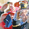 Veterans Day 2016 in Shirley,Honoring all Vedterans, shown here are a group of Korean War Vets, in middle L-R, Robert Perry (in red) and John F. Gordon, both from Shirley. Nashoba Valley Voice Photo by David H. Brow.