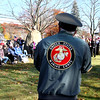 Chairman of the Shirley,MA Veterans Events Committee, Norman Albert, kicks off the Veterans Day program at Whiteley Park. Nashoba Valley Voice Photo by David H. Brow.