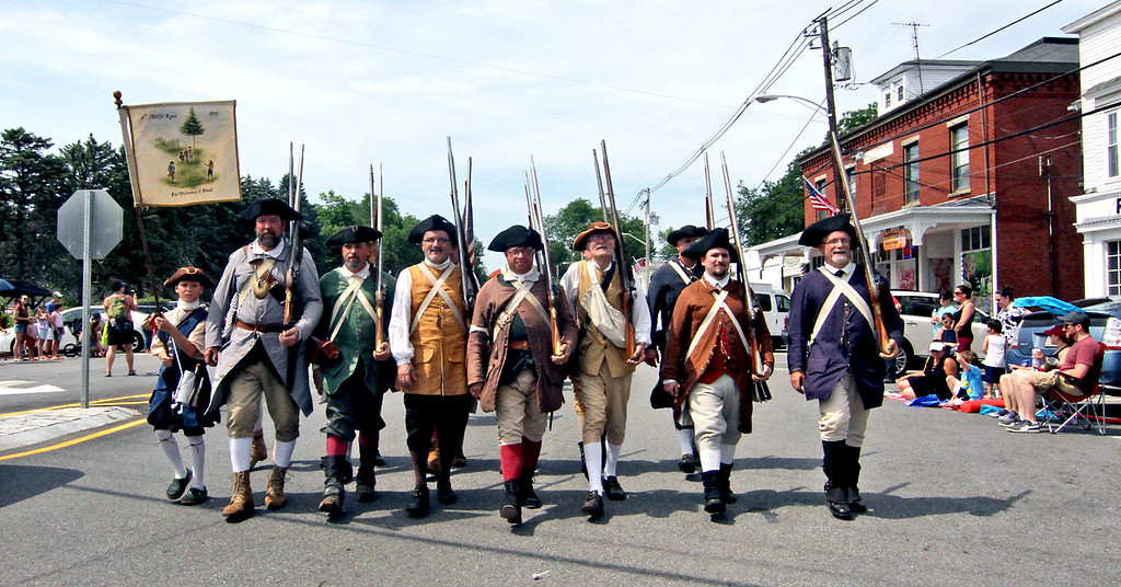 . The 6th Middlesex Regiment marching in the annual 4th of July parade in Pepperell. SUN/David H.Brow