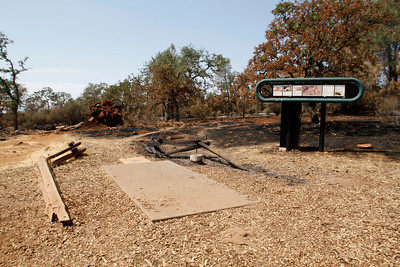 Hole No. 1. The Peregrine Point Disc Golf Course was scorched by the Stoney Fire. The charred course is seen Tuesday, Aug. 14, 2018, in Chico, California. (Dan Reidel -- Enterprise-Record)