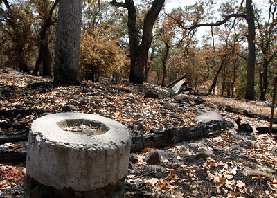An out-of-bounds marker near rails that are little more than ash.The Peregrine Point Disc Golf Course was scorched by the Stoney Fire. The charred course is seen Tuesday, Aug. 14, 2018, in Chico, California. (Dan Reidel -- Enterprise-Record)