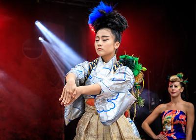 Japanese female performer in Kimono, costume performance by Kimono de Go at Japan Matsuri Festival London, UK