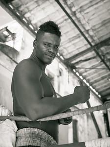 Cuban Boxer Noel Hernandez at Rafael Tejo boxing gym,  Havana, Cuba