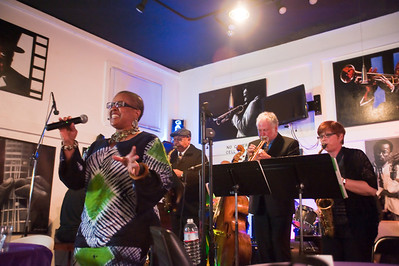 Terry Rodriguez., bass, Terry Hilliard, drums, Kent Bryson piano, percussionist, Linda Livingston, trumpet Graham Bruce plus members of the East Bay Band, Nancy Williams on alto sax, vocalist Raja Rahim, and Gabe Sturges on piano.
