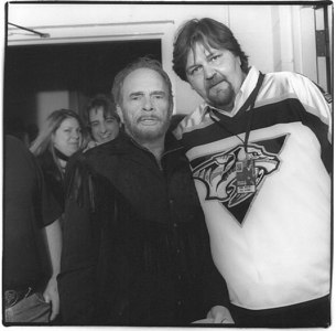 Merle Haggard with Bob Wolfe backstage at the Ryman