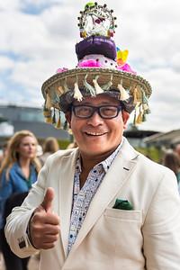 Wimbledon spectator Chito Salarza-Grant, the flamboyant man who calls himself 'the Hat Man of London' at Wimbledon 2016