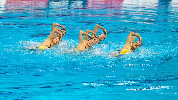 The synchro team from Ukraine perform in the Team Free Routine Synchronised Swimming Finals at the LEN European Aquatics Championships