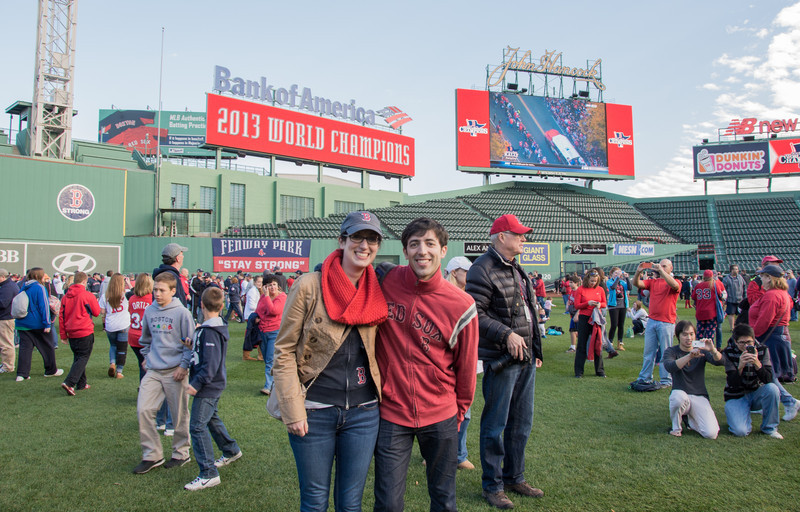 Robby and Kristin on the field after the parade takes off from Fenway.