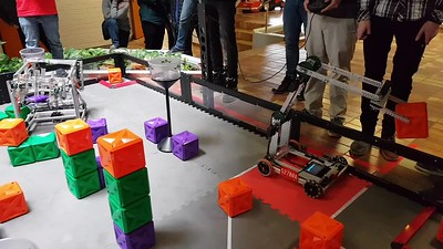 Andy and the ZIS Robotics club at a competition in Germany.