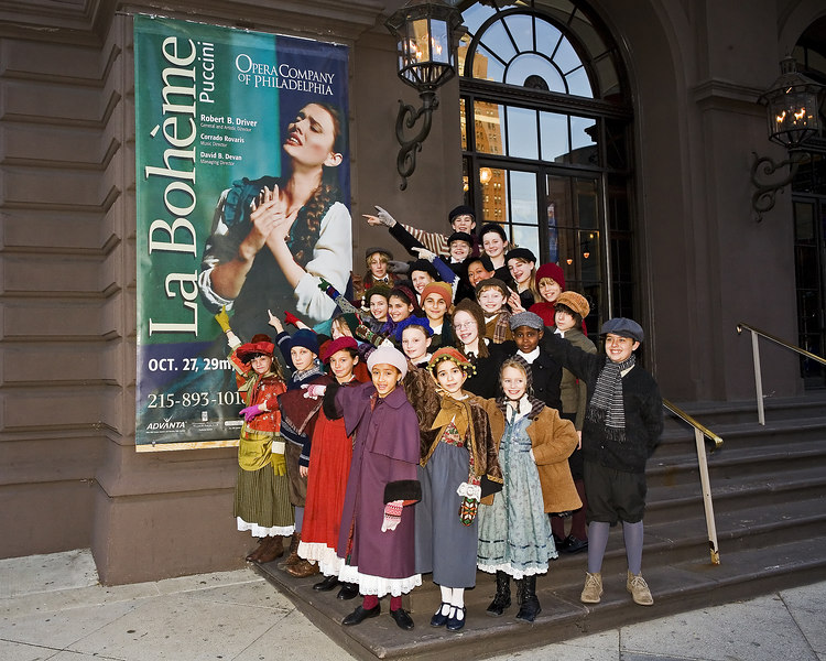 Many (but not quite all) of the KSB and PG singers who participated in the Opera Company of Philadelphia's production of La Boheme.