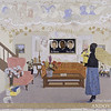 """Kerry James Marshall (b. 1955)<br /> Souvenir II, 1997<br /> acrylic, collage, and glitter on unstretched canvas banner<br /> 108 x 120 in. (274.3 x 304.8 cm)<br /> 1998.160<br /> purchased as the gift of the Addison Advisory Council in honor of John (""""Jock"""") M. Reynolds's directorship of the Addison Gallery of American Art, 1989-1998, Addison Gallery of American Art, Phillips Academy, Andover, MA"""