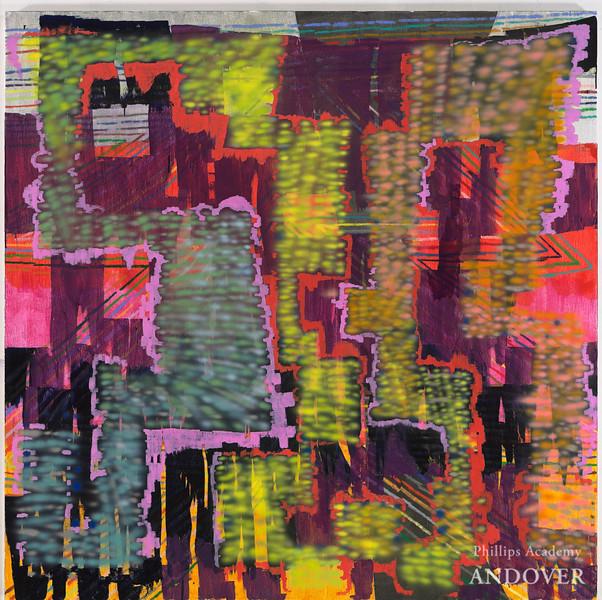 Keltie Ferris (b. 1977)<br /> [[[¿?]]], 2011<br /> oil, acrylic, oil pastel and sprayed paint on canvas<br /> 80 x 80 in. (203.2 x 203.2 cm)<br /> Courtesy Horton Gallery, New York