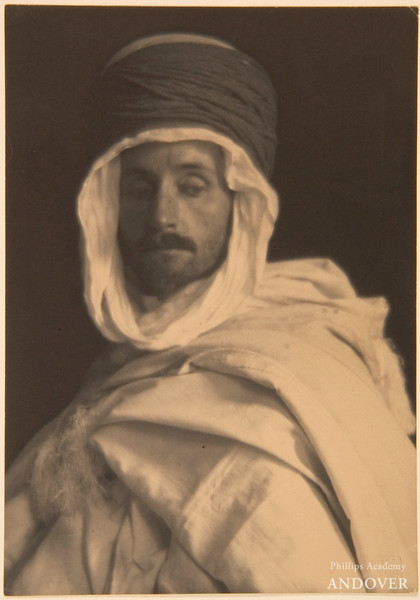 Frederick Henry Evans, F. Holland Day in Algerian Costume, c. 1901, platinum print, 9 3/8 in. x 3 1/2 in. (23.81 cm x 8.89 cm), F. Holland Day Collection, Norwood Historical Society, Courtesy, Museum of Fine Arts, Boston<br /> Photograph © 2011 Museum of Fine Arts, Boston.