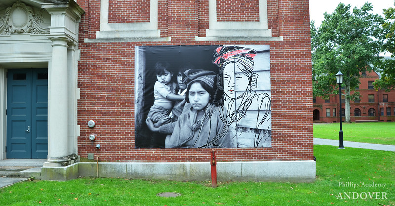 """Benedict (Kauitentakust) Michel, Mary Ann Penashue. """"Untitled."""" Installed on exterior wall of Abbot Hall."""