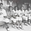 "Lucien Aigner, Leniel Hooker, Max Manning, Jim Brown, and manager Raleigh ""Biz"" Mackey, Newark Eagles, 1939. Gelatin silver print, 13 9/16 × 19 1/2 in. (34.5 × 49.5 cm)"
