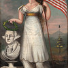 Unidentified American artist<br /> Lady Liberty and Washington window shade, 1800–10<br /> Oil on canvas, 73 x 43 7/8 in.<br /> Fenimore Art Museum, Cooperstown, NY, N0535.1948 Photography, Richard Walker