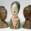 Unidentified French makers<br /> Milliner's heads (three), 1820–70<br /> Red pine; painted papier-mâché; wood,<br /> largest height: 17 in.<br /> New-York Historical Society, Purchased from Elie Nadelman, INV.8708, INV.8709, and INV.8707