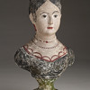 Unidentified American maker<br /> Chalkware bust of a woman, ca. 1800–50 Plaster of Paris, paint, 13 1/2 x 7 x 4 1/4 in. New-York Historical Society, Purchased from Elie Nadelman, 1937.1138