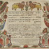 [Georg] Friederich Speyer (American, active ca. 1774–1801)<br /> Birth and baptism certificate of Friederich Rottenberger of Berks County, PA, 1771<br /> Watercolor and brown ink on printed paper,<br /> 13 9/16 x 16 3/16 in.<br /> Museum of Fine Arts, Boston, 56.769