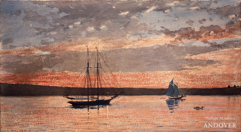 Winslow Homer, Sunset at Gloucester, 1880, watercolor and graphite on wove paper, gift of anonymous donor, 1930.11