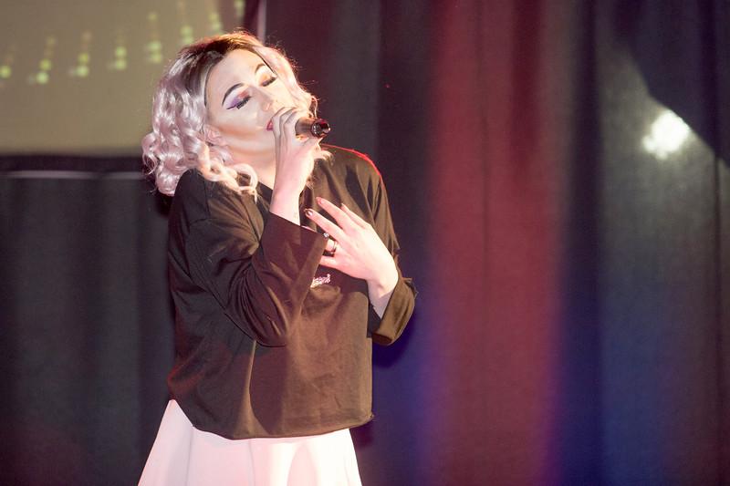 Nikki Naugahyde performing in the Treefort opening night at the Balcony, Boise, Idaho.