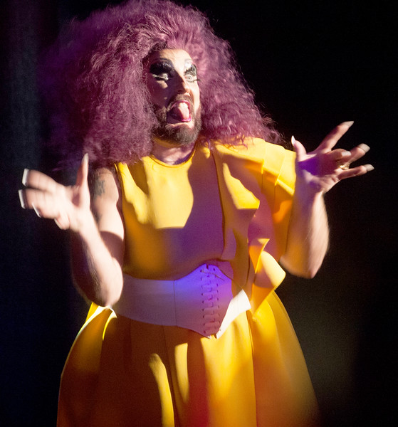 MissFyre makes a face during her performance at the Drag Queen Estravaganza in the Balcony.