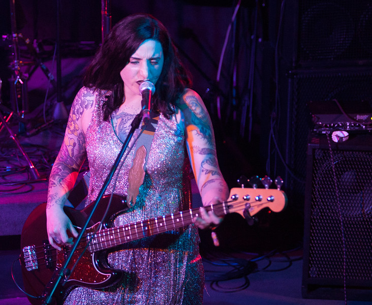 Bassist for Delta Mud,  Tamilla Macklin, performs during their set at Humpin Hannah's for Treefort, Boise, Idaho.