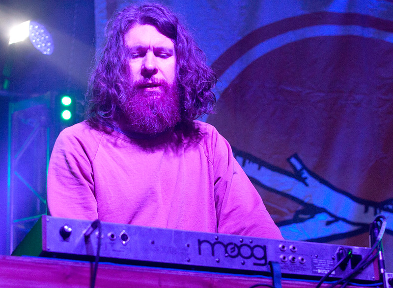 On keyboards for Black Mountain, Jeremy Schmidt plays some psychedelically familiar sounds on his Moog synth on the main stage Thursday night of Treefort, Boise, Idaho.