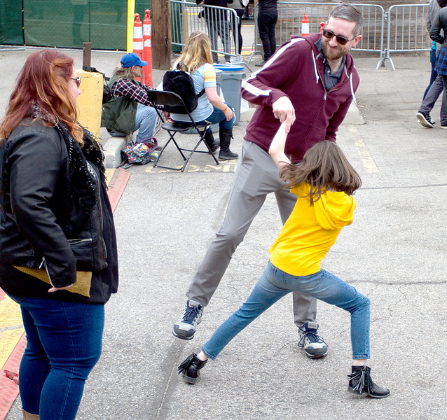 Chris Nichols & his daughter Abby, 8,from Boise dance together while enjoying Esme Patterson at the main stage for Treefort, Boise, Idaho.