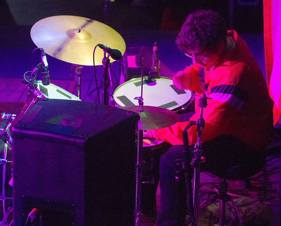 Drummer for Ava Luna, Julian Fader, performs with the band at the Linen Building during Treefort Music Fest, Boise, Idaho.