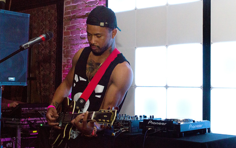 WOH CLUB member Jacq Maliq laying down some tracks for his rap session at the Adleman Building during Treefort Music Fest, Boise, Idaho.