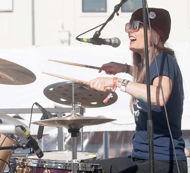 Drummer for General Mojo's, Heather Thomas, performs during their set at the Treefort Music Fest, Boise, Idaho.