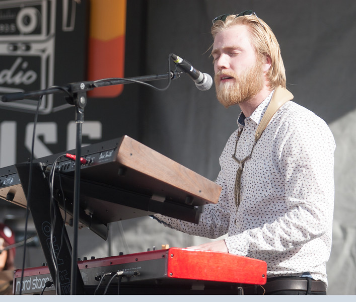 Keyboard player, Eric Vanderbilt Matthews, performs with General Mojo's on the Grove St. stage for Treefort Music Fest on Sunday.