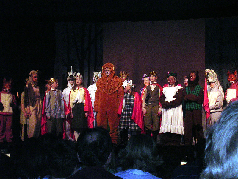 Aslan crowns Edmund, Susan, Lucy and Peter as the new Kings and Queens of Narnia.