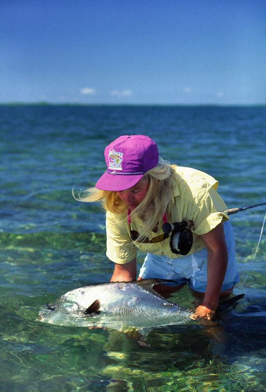 Wendy Gunn Releasing Nice Permit Fly Fishing Turneffe Belize