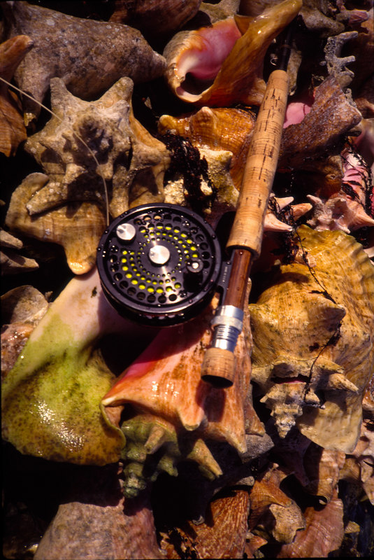 Flyrod and reel on Conchs Fly Fishing Turneffe Belize