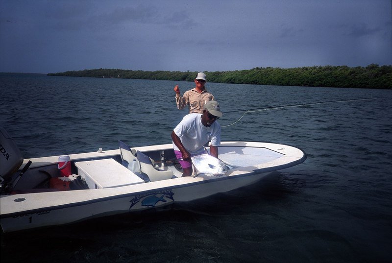 Wendy Gunn and Guide Landing Belize Permit Fly Fishing
