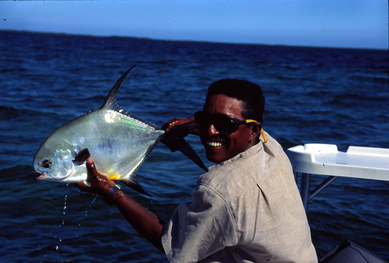 Guide Taku Holding Belize Permit Fly Fishing
