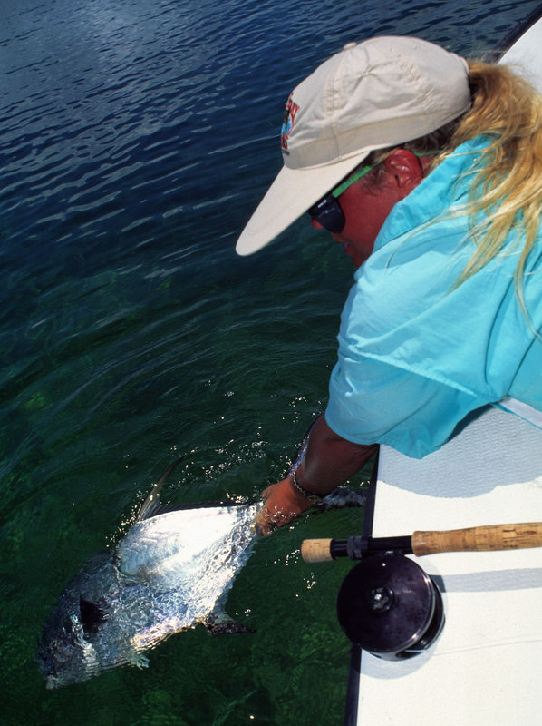 Wendy Gunn Releases Permit Belize Fly Fishing
