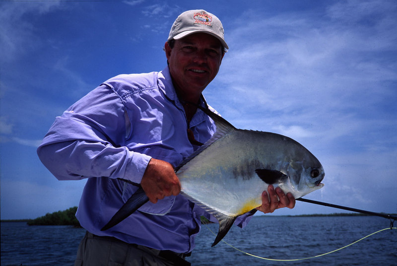 Terry Gunn Holding Belize Permit Fly Fishing