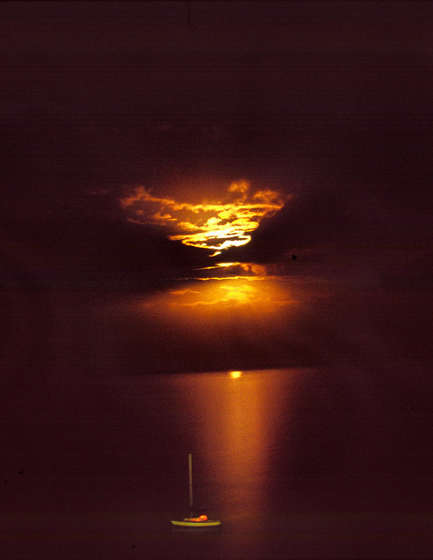 Moonrise over Belize City