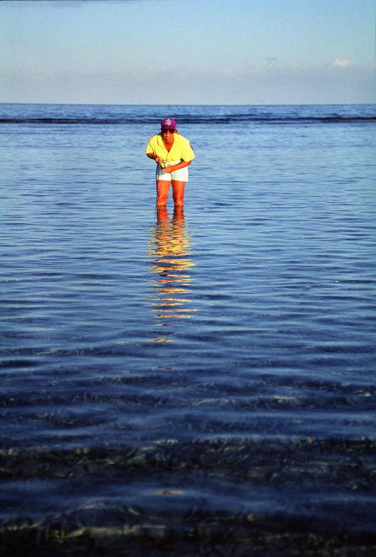 Wendy Gunn Stalking Bonefish on the Reef Fly Fishing Turneffe Belize